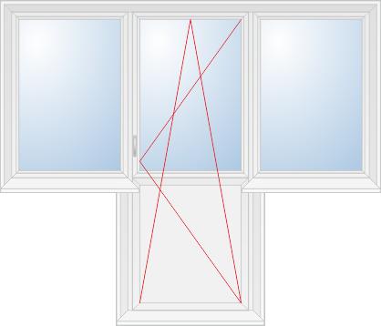 Глухие створки и балконная дверь